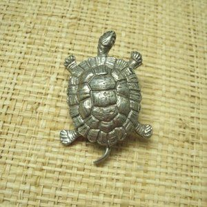 Vintage Pewter Turtle Pin